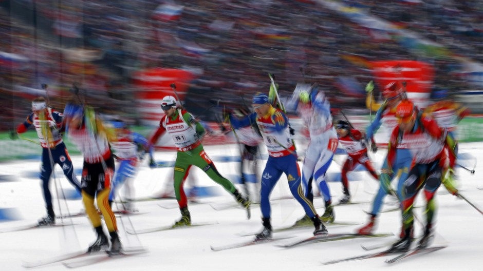 Competitors start in the men's 4x7.5 km relay during the International Biathlon Union World Championships in Nove Mesto