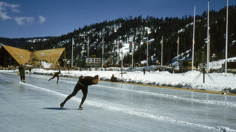 Speed Skaters Practice At 1960 Winter Olympics