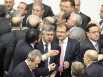 Member of parliament from Republican People's Party Ali Ihsan Kokturk's nose bleeds in Ankara