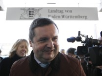 Former Baden-Wuerttemberg premier Mappus (CDU) arrives for hearing at EnBW commission of enquiry in Stuttgart