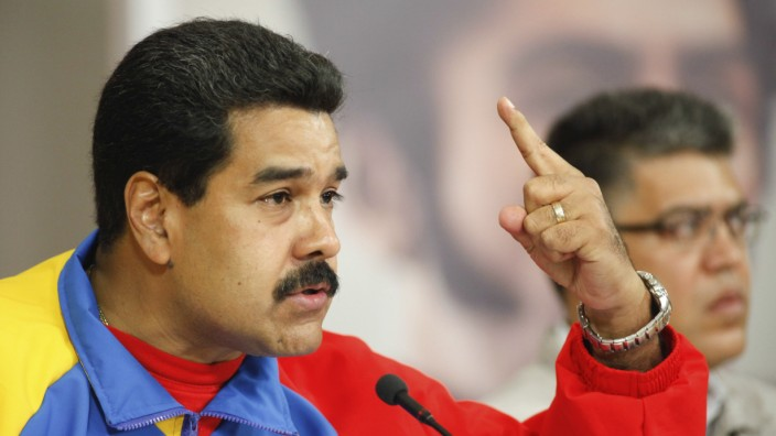 Venezuela's President Maduro speaks during a national broadcast at Miraflores Palace in Caracas