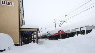 Heavy snowfall in Kartitsch, Leinz, East Tyrol
