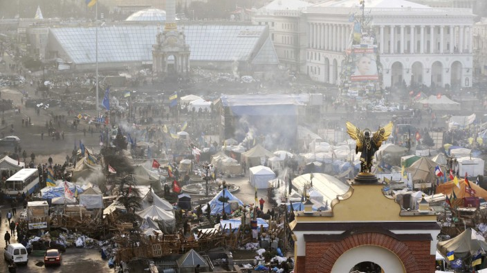 Aerial view shows the anti-government protesters camp in Independence Square in central Kiev