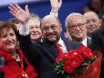 European Parliament President Schulz waves during a pre-election congress of the Party of European Socialists (PES) in Rome
