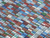 File photo of containers at a terminal in the harbour of Hamburg