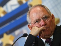 German Finance Minister Schaeuble looks on during the Bundesbank Banking Congress 'Symposium on Financial Stability and the Role of Central Banks' in Frankfurt