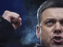 File photo shows the Head of the All-Ukrainian Union Svoboda (Freedom) Party Tyagnibok attending an anti-government rally in Kiev