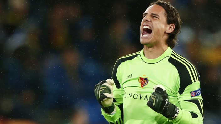 FC Basel's goalkeeper Yann Sommer celebrates his team's goal during their Europa League second leg soccer match against Maccabi Tel Aviv in Basel