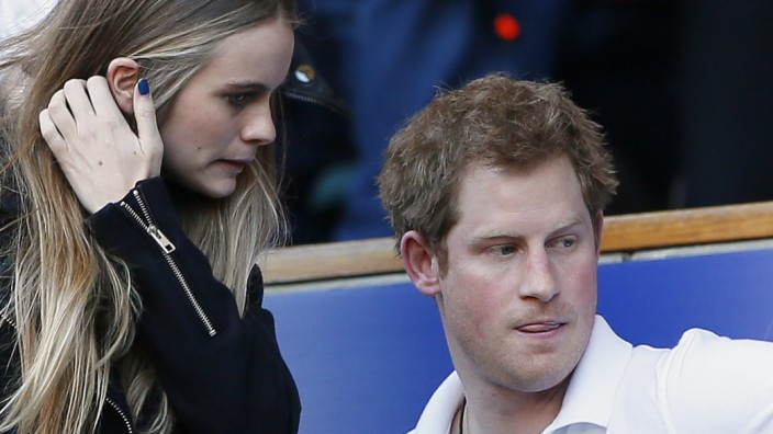 Harry and Bonas attend England's Six Nations international rugby union match against Wales at Twickenham in London