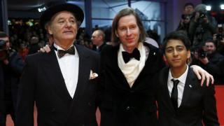 """Bill Murray,  Wes Anderson und Tony Revolori (von links) bei der Weltpremiere von """"Grand Budapest Hotel"""" auf der Berlinale"""