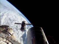 Still image taken from video shows the Soyuz spacecraft preparing to dock with the International Space Station