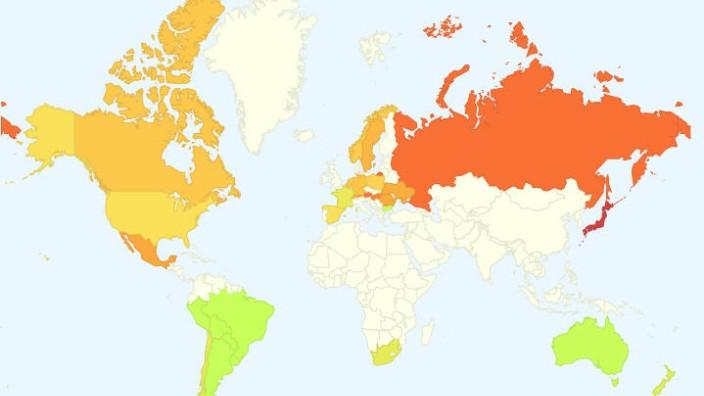 Grippehäufigkeit auf der Weltkarte von Google Flu Trends