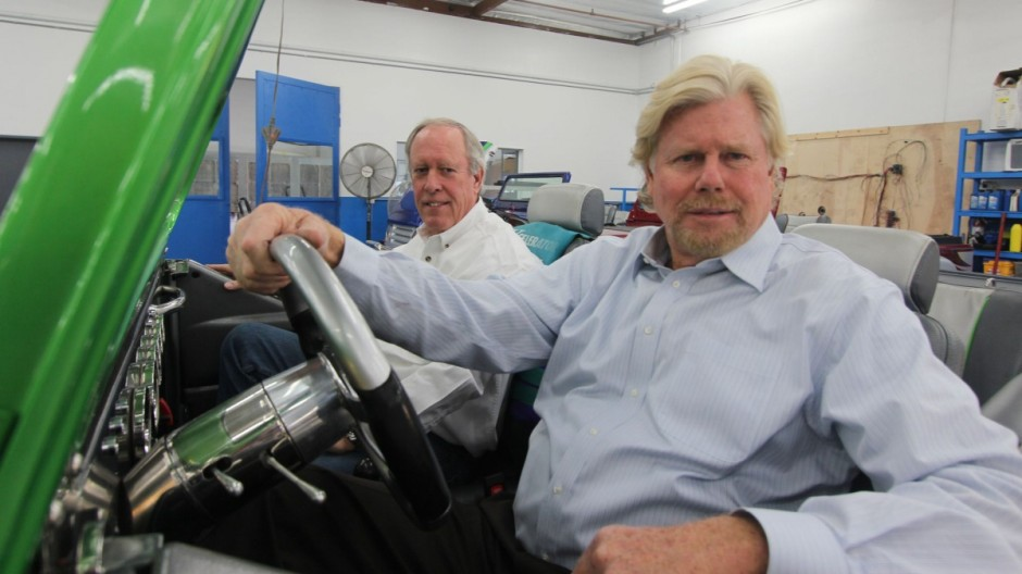 Fred Selby (links) und Watercar-Eingentümer Dave March in Panther Watercar
