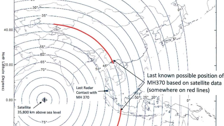 Mögliche Flugkorridore von MH370