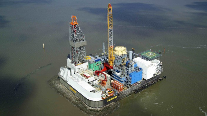 An aerial view shows the artificial Mittelplate drilling and production island north-west of Cuxhaven