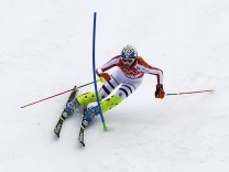 Germany's Hoefl-Riesch competes in the slalom run of the women's alpine skiing super combined event at the 2014 Sochi Winter Olympics