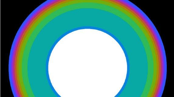 Simulation von Grossetestes Universum mit neun perfekten Sphären