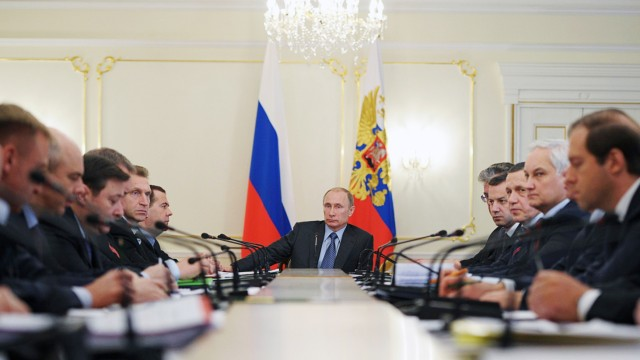 Russia's President Putin attends a meeting with members of the government at the Novo-Ogaryovo state residence outside Moscow