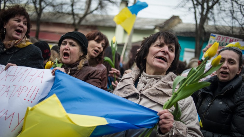 Crisis in Ukraine - Pro-Ukraine rally in Simferopol