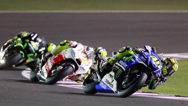 Yamaha MotoGP rider Valentino Rossi of Italy races during a free practice session at the MotoGP World Championship at the Losail International circuit in Doha