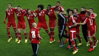Bayern Munich's players celebrate after Bundesliga soccer match Hertha Berlin  in Berlin