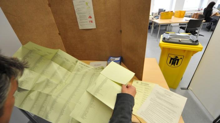 Stimmzettel bei der Stadtratswahl in München 2014