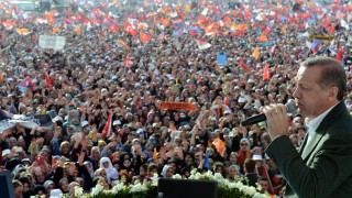 Turkish Prime Minister Recep Tayyip Erdogan attends election camp