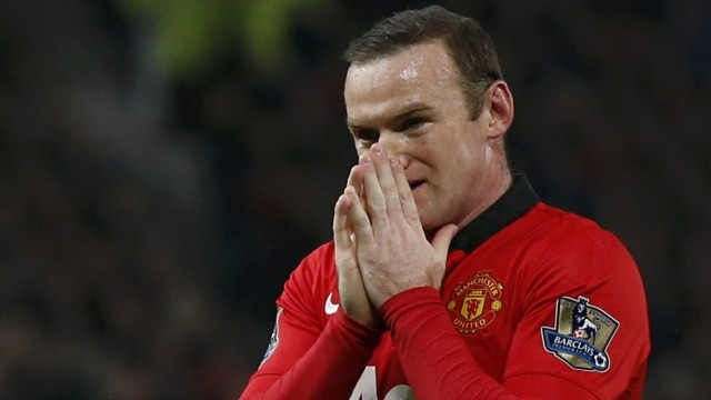 Manchester United's Rooney reacts during their English Premier League soccer match against Manchester City in Manchester