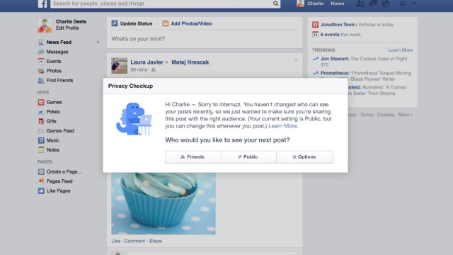 Facebook führt einen Datenschutz-Dinosaurier ein.