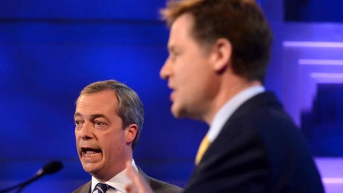 BBC Hosts Second Nick Clegg And Nigel Farage Debate