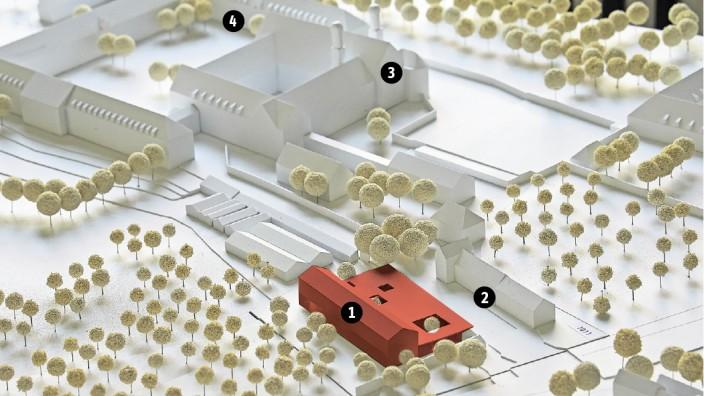 Das rote Modell ist das geplante Netzwertzentrum (Nummer 1). Gegenüber liegt die Fraunhofer-Glashütte (2). Die Basilika mit dem Kreuzgang (3) ist in der Mitte oben zu sehen, der Arkadenhof (4) dahinte
