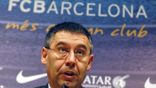 Barcelona's President Bartomeu speaks during a news conference at Camp Nou stadium in Barcelona
