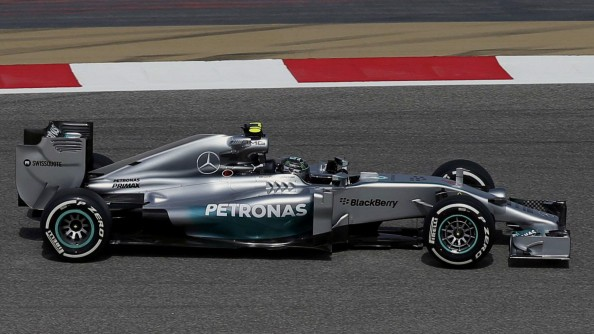 Mercedes Formula One driver Lewis Hamilton of Britain drives during the first practice session of the Bahrain F1 Grand Prix at the Bahrain International Circuit (BIC) in Sakhir