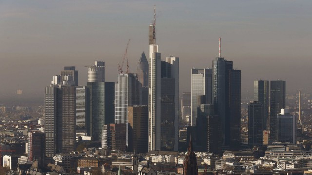 Frankfurt skyline is seen from construction site of new ECB headquarters