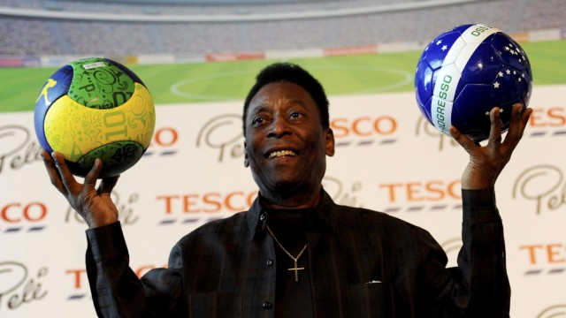 Pele attends a promotional event of a Tesco supermarket in Warsaw