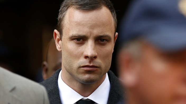 Pistorius leaves after attending his trial at the high court in Pretoria