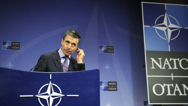 Rasmussen addresses a news conference during a NATO foreign ministers meeting at the Alliance headquarters in Brussels