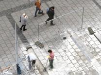 Neue Pflastersteine in der Fußgängerzone