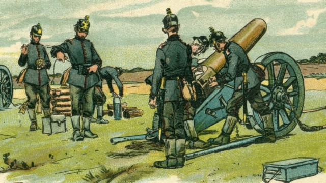 Postkarte 'Fussartillerie.  Schwere Feldhaubitzen'   Postcard 'Artillery. heavy field howitzer' Erster Weltkrieg