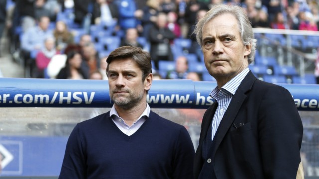 Hamburger SV's sports director Kreuzer and head of the board Jarchow arrive for the German Bundesliga first division soccer match against  VfL Wolfsburg