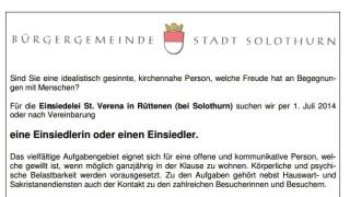 Einsiedler Solothurn, Inserat