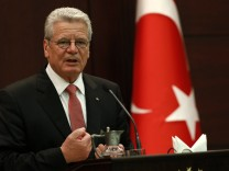 Germany's President Gauck addresses the media at the Presidential Palace in Ankara