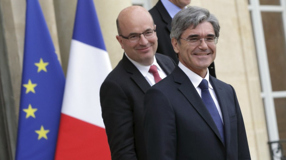President and Chief Executive Officer of Siemens AG Joe Kaeser leaves the Elysee Palace in Paris