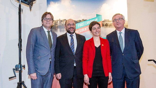 Candidates for the presidency of the European Commission pose for a picture as they arrive for the first European Presidential Debate in Maastricht