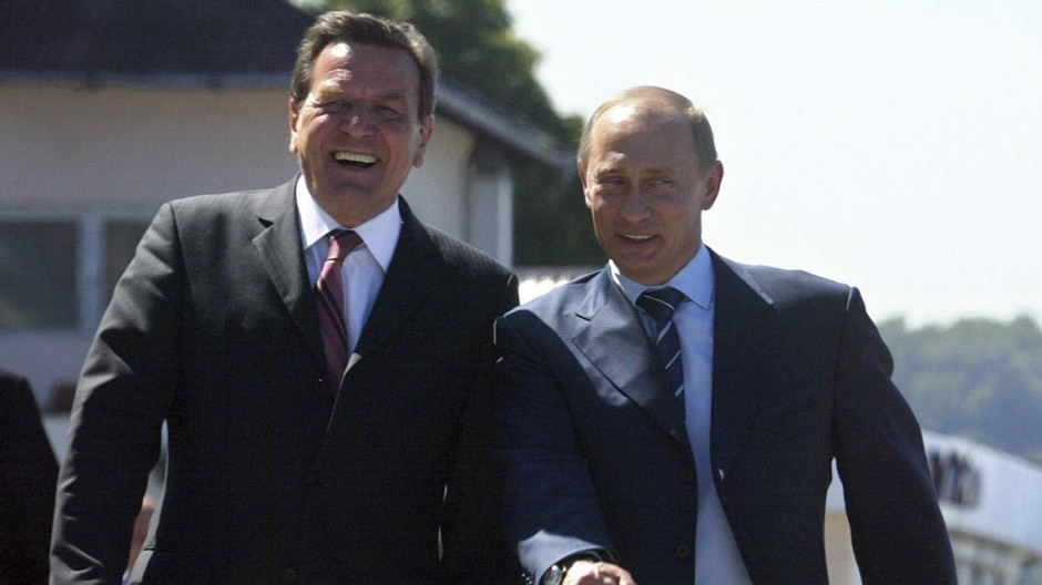 File photo of Russian President Putin and German Chancellor Schroeder