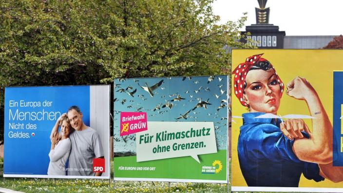 Plakate zur Kommunal- und Europawahl in Sachsen