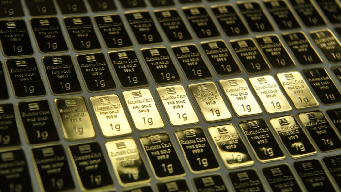 One gram gold bars are pictured side-by-side at the Zlatarna Celje in Celje