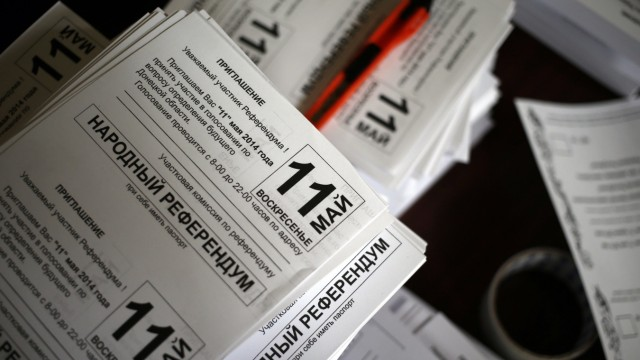 Referendum materials are pictured inside the commission headquarters in Donetsk, eastern Ukraine