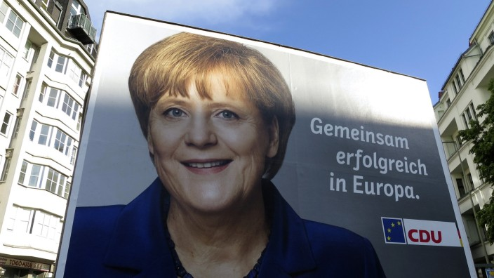 An European Parliament election campaign poster showing German Chancellor Merkel is pictured in Berlin