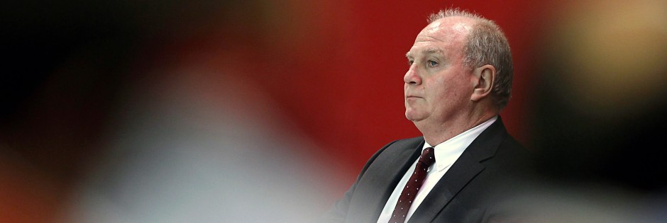 Bayern Munich's President Hoeness delivers speech during annual meeting of German Bundesliga first division soccer club in Munich